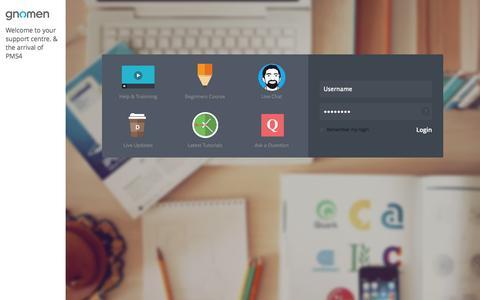 Screenshot of Support Page gnomen.co.uk - Gnomen - Support Centre - captured Sept. 22, 2014