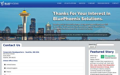 Screenshot of Contact Page bphx.com - BluePhoenix Solutions: Contact Us - captured July 20, 2014