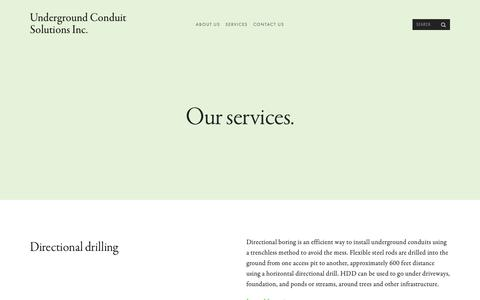Screenshot of Services Page undergroundconduitsolutions.com - Underground Conduit Solutions Inc. - captured Oct. 19, 2018
