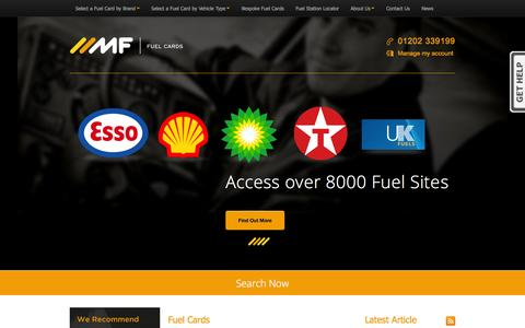 Screenshot of Home Page mffuelcards.co.uk - Compare Fuel Cards | Fuel Card Packages - MF Fuel Cards - captured Sept. 30, 2014