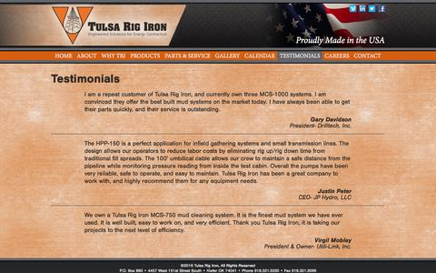 Screenshot of Testimonials Page tulsarigiron.com - Tulsa Rig Iron | Testimonials - captured Dec. 6, 2016