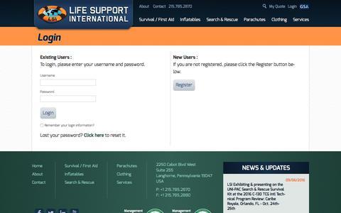 Screenshot of Login Page lifesupportintl.com - Life Support International - captured Nov. 7, 2016