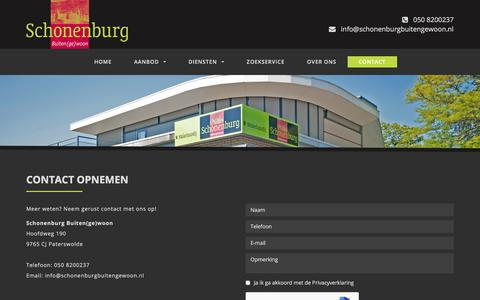 Screenshot of Contact Page schonenburgbuitengewoon.nl - Contact opnemen - captured July 13, 2018