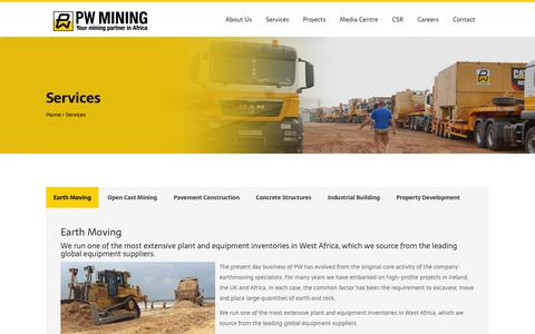 Screenshot of Services Page pwmil.com - Services |  PW Mining - captured Dec. 13, 2018