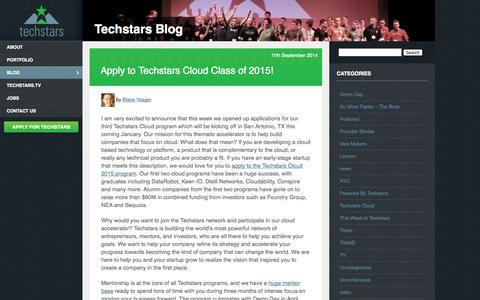Screenshot of Blog techstars.com - Techstars: Blog - captured Sept. 13, 2014