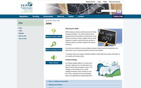 Screenshot of Jobs Page sepa.org.uk - Jobs | Scottish Environment Protection Agency (SEPA) - captured June 28, 2017
