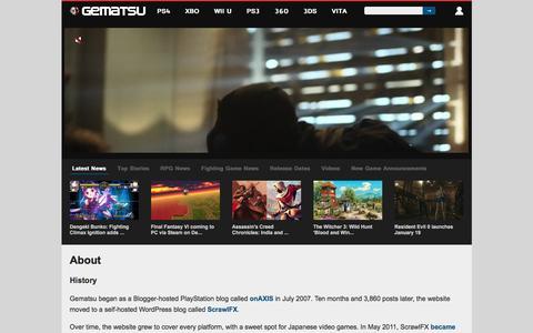 Screenshot of About Page gematsu.com - About - Gematsu - captured Dec. 8, 2015
