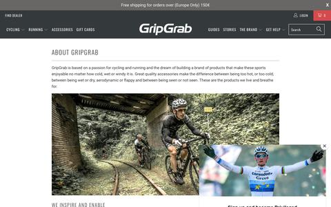 Screenshot of About Page gripgrab.com - About GripGrab - Passion for Cycling and Running - captured Sept. 30, 2018