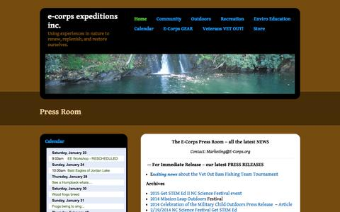 Screenshot of Press Page e-corps.org - Press Room | E-Corps Expeditions Inc. - captured Jan. 23, 2016