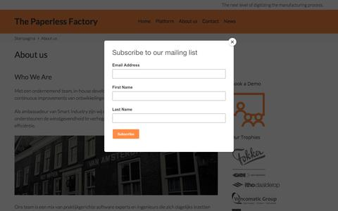 Screenshot of About Page 3dvalue.nl - About us – The Paperless Factory - captured Sept. 21, 2018