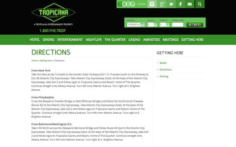 Screenshot of Maps & Directions Page tropicana.net - Tropicana Casino & Resort Atlantic City – Atlantic City HotelsTropicana Atlantic City | Directions | Atlantic City Hotel - captured Oct. 30, 2014