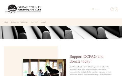Screenshot of Support Page ocpag.org - Support - Ouray County Performing Arts Guild - captured Oct. 18, 2018