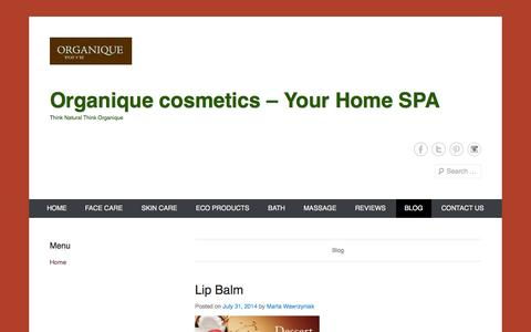 Screenshot of Blog organiquetouch.com.au - Blog | Organique cosmetics - Your Home SPA - captured Oct. 6, 2014