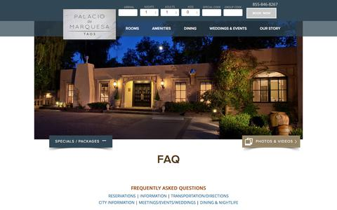 Screenshot of FAQ Page marquesataos.com - Taos Inn New Mexico, Taos Boutique Hotels - captured July 2, 2018