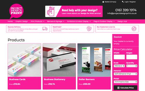 Screenshot of Products Page projectdesignprint.co.uk - Products | Project Design Print - captured Jan. 26, 2018