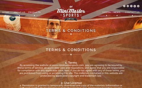 Screenshot of Terms Page minimastersports.com - Terms conditions | MiniMaster Sports - captured Oct. 18, 2018