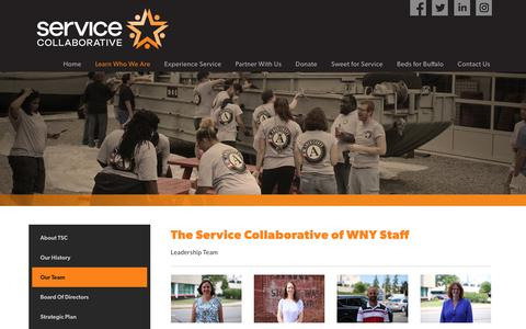 Screenshot of Team Page tscwny.org - The Service Collaborative of WNY - AmeriCorps | YouthBuild | Volunteer | Buffalo NY > Learn Who We Are > Our Team - captured Dec. 17, 2018