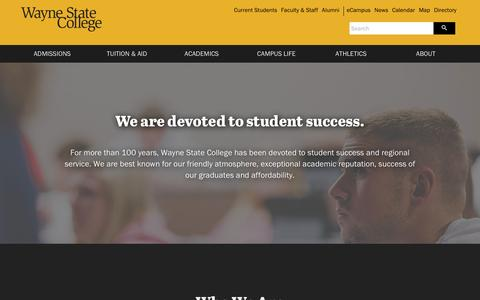 Screenshot of About Page wsc.edu - About | Wayne State College - captured Oct. 23, 2016