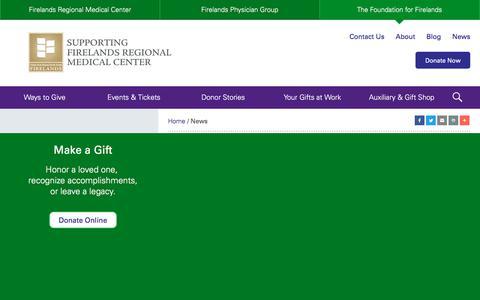 Screenshot of Press Page foundationforfirelands.com - In the News - The Foundation for Firelands - captured Nov. 20, 2017