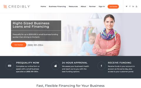 Screenshot of Home Page credibly.com - Credibly - Small Business Lending, Information, & Resources - captured May 18, 2018