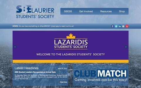 Screenshot of Home Page sbess.ca - SBESS.ca | School of Business & Economics Students' Society – Wilfrid Laurier University - captured Feb. 3, 2016