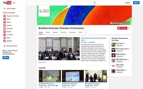 Screenshot of YouTube Page youtube.com - Brazilian-American Chamber of Commerce  - YouTube - captured Oct. 25, 2014