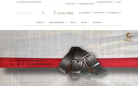 Screenshot of Home Page leathertalks.com - Buy Best Quality Handmade Leather Bags, Handbags Online - captured Jan. 24, 2017