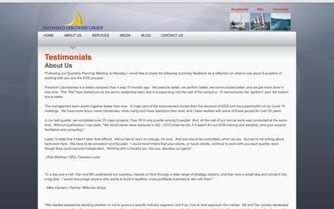 Screenshot of Testimonials Page tailwinddiscoverygroup.com - Testimonials - captured Oct. 9, 2014