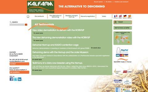 Screenshot of Testimonials Page kalfarm.com - All Testimonials - captured Nov. 27, 2016