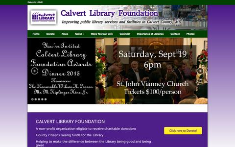 Screenshot of Home Page calvertlibraryfoundation.com - Calvert Library Foundation Home - Calvert Library Foundation - captured Oct. 10, 2015