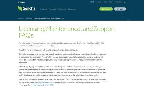 Screenshot of FAQ Page sencha.com - Licensing, Maintenance, and Support FAQs - Sencha.com - captured Nov. 2, 2019