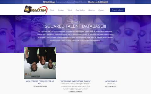 Screenshot of Home Page msquaredmgmt.com - MSquared Management - Event Staffing - MSquared - captured Sept. 30, 2018
