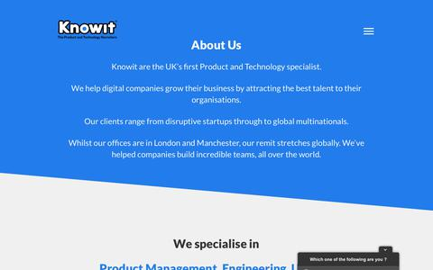 Screenshot of About Page knowit.co.uk - Knowit | About - captured Dec. 3, 2018