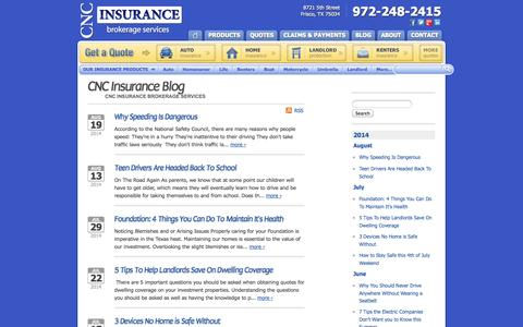 Screenshot of Blog cncbrokerage.com - Insurance News | CNC Insurance in Frisco, TX - captured Oct. 1, 2014