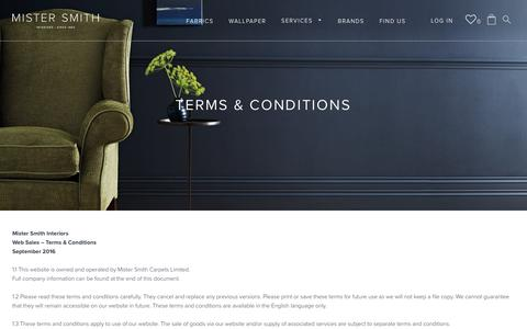Screenshot of Terms Page mistersmith.co.uk - Terms & Conditions – Mister Smith Interiors - captured Nov. 6, 2017