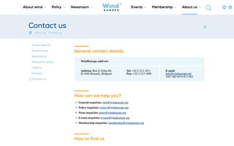 Screenshot of Contact Page windeurope.org - Contact us | WindEurope - captured May 4, 2017