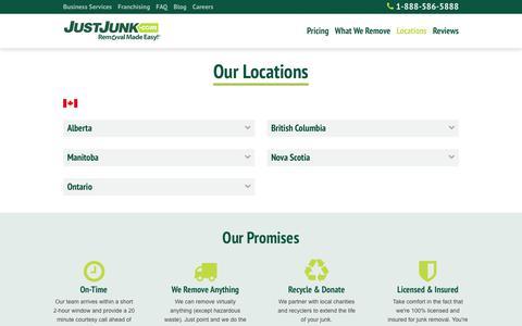 Screenshot of Locations Page justjunk.com - Locations - JUST JUNK® - captured Sept. 20, 2018