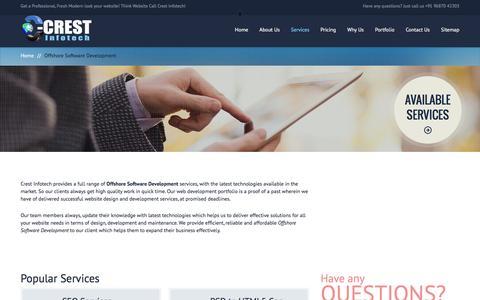 Screenshot of Services Page crestinfotech.com - Offshore Software Development | Crest Infotech India - captured Dec. 13, 2015