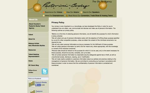 Screenshot of Privacy Page pbtalent.com - Privacy Policy for Pastorini-Bosby Talent - Houston Texas Talent Agency and Actor Representation - captured Oct. 1, 2014