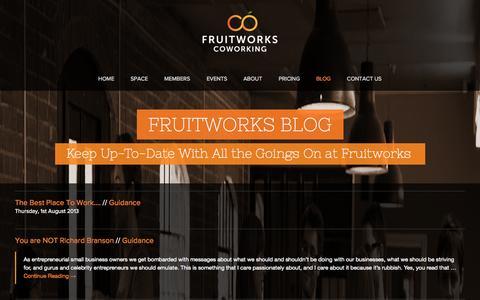 Screenshot of Blog fruitworks.co - Latest News | Fruitworks Coworking | Hotdesking in Canterbury, Kent - captured Oct. 6, 2014