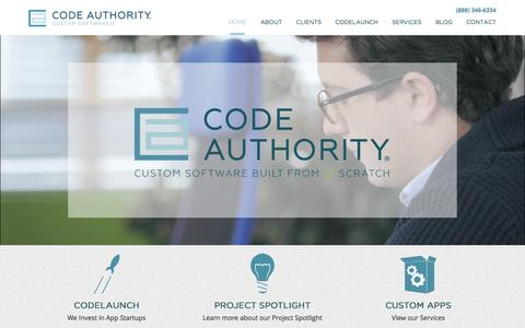 Screenshot of Home Page codeauthority.com - Custom Software Development, Custom Application Development, Dallas, DFW - captured Aug. 5, 2015