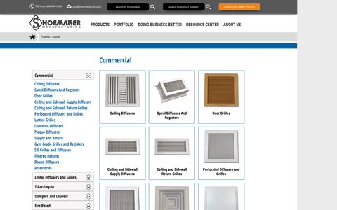 Screenshot of Products Page shoemakermfg.com - Product Guide - captured Feb. 17, 2016