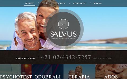 Screenshot of Home Page salvus.sk - Domov | SALVUS - Pracovisko klinickej a dopravnej psychológie - captured Sept. 29, 2017