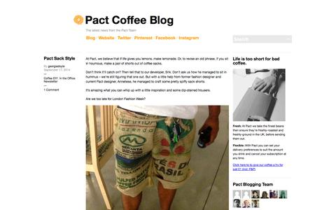 Screenshot of Blog pactcoffee.com - Pact Coffee Blog | The latest news from the Pact Team - captured Sept. 17, 2014