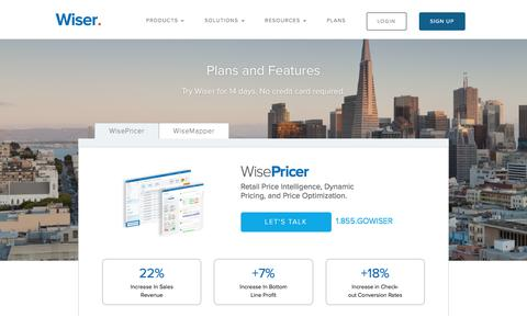 Screenshot of Pricing Page wiser.com - Wiser - Plans and Pricing - captured Oct. 20, 2016