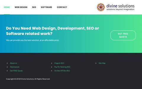 Screenshot of Testimonials Page divineitsolutions.com - Testimonials - Divine Solutions Web Design Development SEO Software Company - captured Oct. 9, 2018