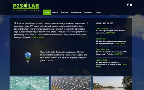 Screenshot of Home Page p2solar.com captured Sept. 26, 2014
