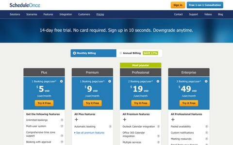 Screenshot of Pricing Page scheduleonce.com - ScheduleOnce pricing plans - captured Oct. 2, 2015