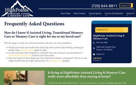 Screenshot of FAQ Page spectrumretirement.com - FAQs | HighPointe Assisted Living & Memory Care - captured Jan. 23, 2017