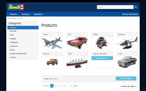 Screenshot of Products Page revell.com - Revell | Products - captured Dec. 18, 2018